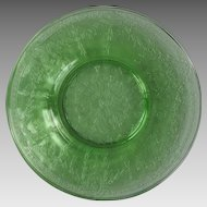 Three Green Depression Glass Bread Plates Rose Cameo Pattern