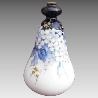 Amphora Blue and White Gourd Shape Floral Vase with Raised Gold Enamel RStK Turn-Teplitz
