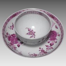 18th Century Meissen Tea Bowl and Saucer, Indian Painting
