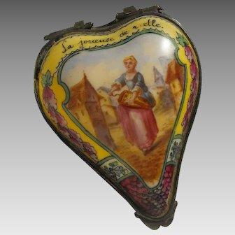 18th Century Heart Shape Sceaux Bonbonniere Enameled Scene La Joueuse de Vielle - The Hurdy-gurdy Player