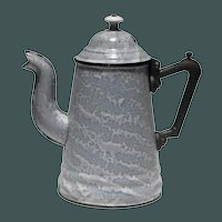 Large Granite Ware Teapot with Cast Iron Handle and Porcelain Knob