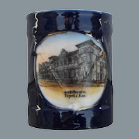 Wheelock Cobalt Figural Souvenir China Toothpick Holder Topeka, Kansas Auditorium