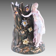 Mother and Daughter Figural Antique Ernst Bohne & Söhne Porcelain Vase