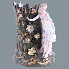 Mother and Daughter Figural Antique Ernst Bohne & Söhne Porcelain Vase