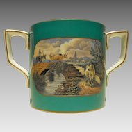 F. and R. Pratt Fenton Loving Cup with Turquoise Colored Ground and Transfer Decorations of Country Scenes Ca 1850