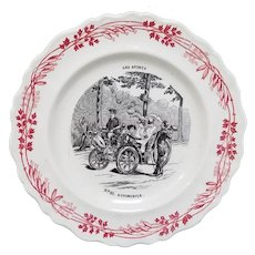 Early Ostentatious Cruisers Transferware Plate Les Sports Series Creil et Montereau Terre de Fer France