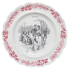 Transferware No. 4 Patinage - Skating - Faience Plate Les Sports Series Creil et Montereau Terre de Fer
