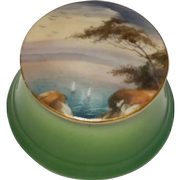 1913 Royal Worcester Miniature Hand Painted Seascape Trinket Box