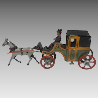 Georg Fischer Lithographed Tin Penny Toy Horse Drawn Carriage Germany