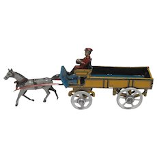 Georg Fischer Lithographed Tin Penny Toy Horse Drawn Dray Wagon Germany