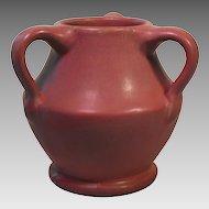 Mauve Matte Three Handled Art Pottery Vase