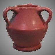 Mauve Matte Three Handled Art Pottery Vase
