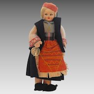 Pretty Little Felt Lady Doll in National Costume With Original Eros Florence Tag