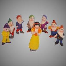 Geo. Borgfeldt Bisque Walt Disney Snow White and the Seven Dwarfs Complete Play Set