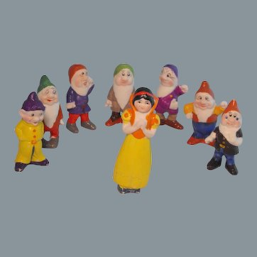 Geo. Borgfeldt Bisque Walt Disney Snow White and the Seven Dwarfs Complete Play Set
