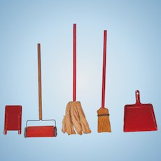 Miniature Cleaning Accessories for Doll House - Carpet Sweeper, Mop, Broom, Dustpan and Scrub-Board