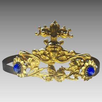 Vintage Queen or Princess Costume Crown with Blue Glass Faux Jewels Realistic Adjustable Metal