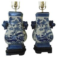 Pair Chinese Blue and White Porcelain Table Lamps