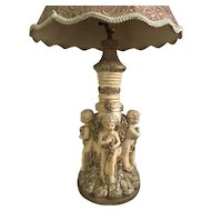 Vintage Neoclassic Italian Putti Cherub Table Lamp