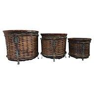 Vintage Three Piece Set Woven Wicker Rattan Metal Plant Baskets