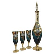 Vintage Italian Murano Venetian Teal Enameled Gold Gilt Decanter Set