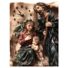 Vintage Chalkware Holy Family Religious Mantle Table Clock