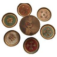 Vintage Italian Tole Gilt Florentine Coasters Storage Box