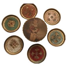Vintage Italian Tole Gilt Florentine Coasters Storage Box - Red Tag Sale Item