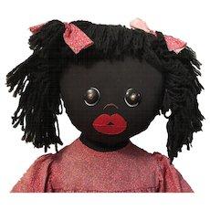 "Vintage 36"" Black Americana Folk Art Rag Doll Signed"