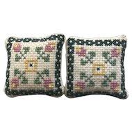Vintage Pair Miniature  Needlepoint Dollhouse Sofa Throw Pillows