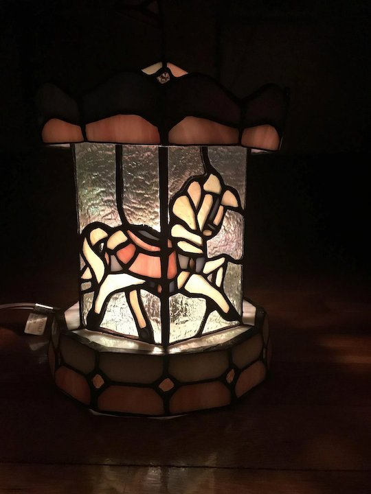 Vintage Stained Glass Carousel Lamp Night Light