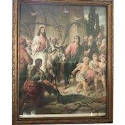 Vintage Original Artwork Print Christ's Entrance Into Jerusalem