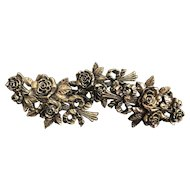 Vintage Gilt Resin Carved Rose Flora Curtain Tiebacks Large