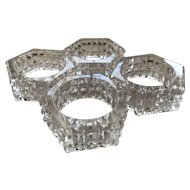 Vintage German Cut Lead Crystal Napkin Holders Set of Four