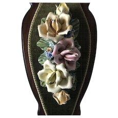 Vintage Italian Capodimonte Porcelain Floral Wall Plaque