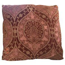 Vintage Pair Cut Velvet Raspberry Throw Pillows