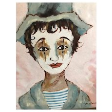 Vintage K, Munsing French Enamel on Copper Mime Painting