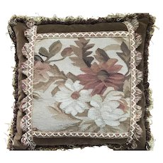 Vintage French Aubusson Tapestry Pillow