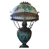 Antique Victorian Converted Glass and Brass Parlor Lamp
