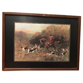 Vintage Ferguson Brothers English Hunting Scene Folding Tables Stand