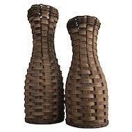 Pair Woven Splint Wood Baskets Tall