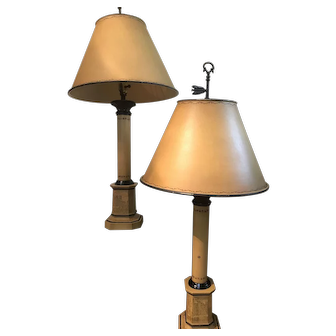 Vintage Pair English Tole Metal Painted Table Lamps