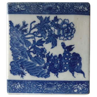 Vintage Chinese Porcelain Foo Dog Opium Pillow