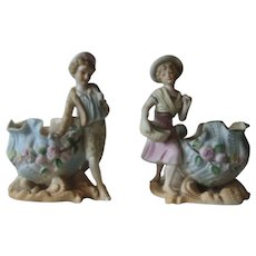 Ardalt Bisque Porcelain Girl Boy Figural Planters