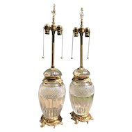 Pair Marbro Crystal and Brass Table Lamps