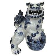 Vintage Japanese Kutani  Blue and White Foo Dog