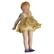 "All Bisque Flapper Doll, 3 1/4"" Tall, All Original"