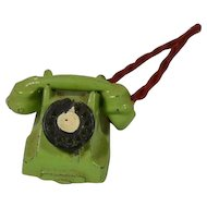 Vintage Green Metal Doll House Phone, EX