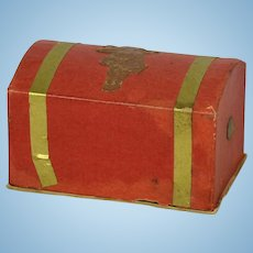 Small Domed German Candy Container Trunk for All Bisque, Ca. 1900