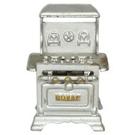 """Royal"" Cast Iron Stove for Doll House, 4 3/4"" tall"